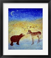 Framed Bear And Deer Meeting Under The New Moon