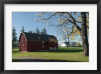 Framed Red Barn In Country