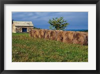 Framed Large Round Haybales With Stone Barn