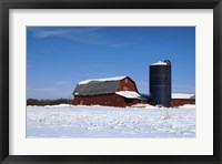 Framed Barn And Silo In Winter