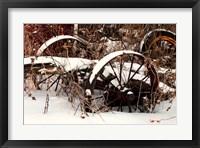 Framed Broken Antique Wagon In Snow