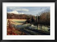 Framed Lane Along Wooden Fence In Autumn