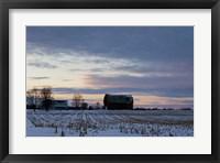 Framed Sunset On Farm In Winter
