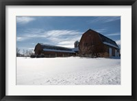 Framed Weathered Barn In Snow Covered Field