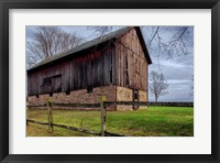 Framed Weathered Barn Under Threatening Sky