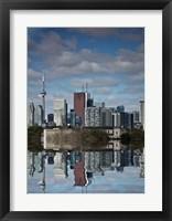 Framed Toronto Skyline From The Pape Ave Bridge Reflection No 1