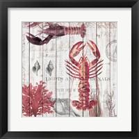 Framed Lobsters on Driftwood Panel