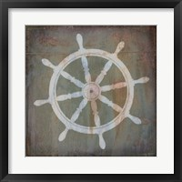 Framed Rusty Sign Nautical Wheel