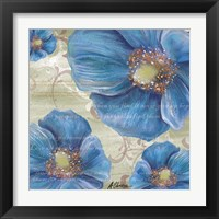 Framed Blue Poppies and Text 1