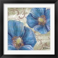 Framed Blue Poppies and Text 2