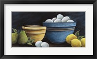 Framed Blue Bowl with Eggs