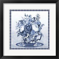 Blue Teacup Bouquet B Framed Print