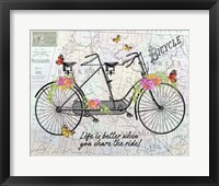Vintage Bicycle with Map B Framed Print