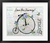 Vintage Bicycle with Map C Framed Print