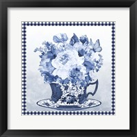 Blue Teacup Bouquet E Framed Print