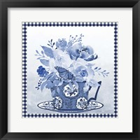 Blue Teacup Bouquet F Framed Print