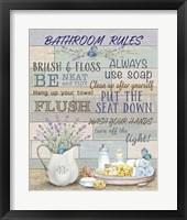 Framed Lavender Bathroom Rules