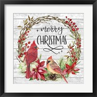 Framed Cardinal Christmas Wreath