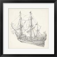 Framed Antique Ship Sketch I