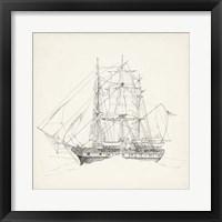 Framed Antique Ship Sketch II