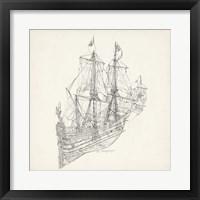 Framed Antique Ship Sketch III