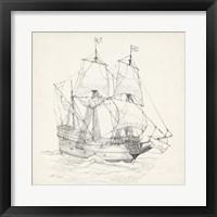 Framed Antique Ship Sketch IV