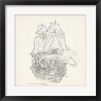 Framed Antique Ship Sketch V
