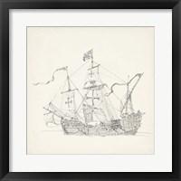 Framed Antique Ship Sketch VI
