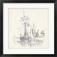 Framed Antique Ship Sketch VII