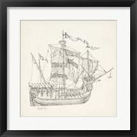 Framed Antique Ship Sketch VIII