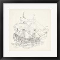 Framed Antique Ship Sketch IX
