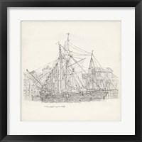 Framed Antique Ship Sketch X