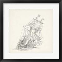 Framed Antique Ship Sketch XI
