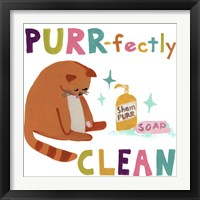Framed Cute Cat Bath III