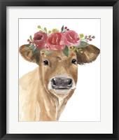 Flowered Cow I Framed Print