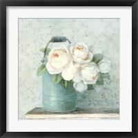 Framed June Roses I White Blue Crop