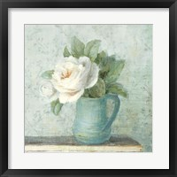 Framed June Roses II White Blue Crop