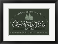 Vintage Christmas Sign I Green Framed Print