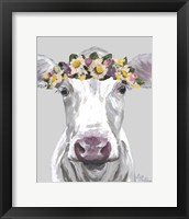 Framed Cow Mabel With Flowers On Gray
