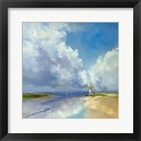 Framed Sailboat on a Sandy Beach