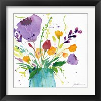 Framed Teal Vase With Bright Flowers