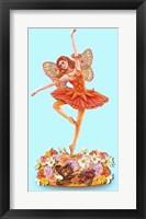 Framed Autumn Ballet Figurine Blue Background