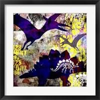 Framed Painted Dino 1 Grunge