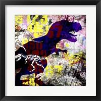 Framed Painted Dino 2 Grunge