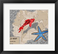 Framed Red Fish Over Chart