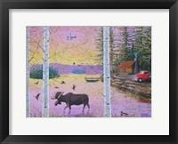 Framed Moose Lodge with Float Plane