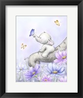 Framed Elephant with Butterfly