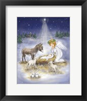 Framed Nativity with angel