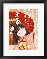 Framed Japanese Girl with Umbrella