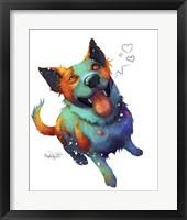 Framed Pets- Teal and Orange Dog